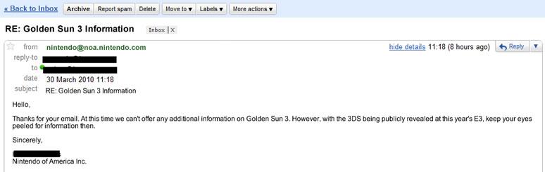Rumor: Nintendo customer service rep associates Golden Sun DS with ...